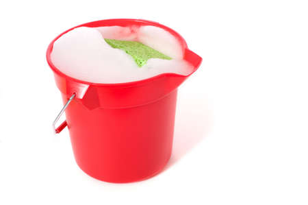 soapy water: A bucket of soapy water on a white background with copy space