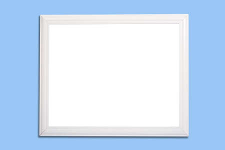 A white frame on blue background with two paths, to remove the frame from the shadow and to change the inside of the frame