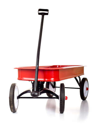 A red little red wagon on a white background with copy space photo