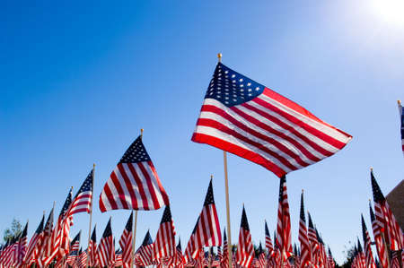 An Amercan Flag display for celebration of a National holiday like Fourth of July, Memorial Day, Veterans Day etc. Stock Photo
