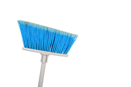 broom handle: A blue sweeping broom on a white background Stock Photo