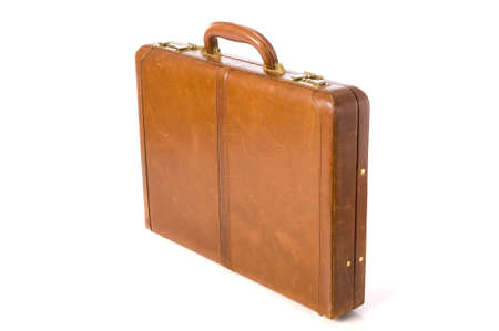 A brown leather briefcase or attache on a white background