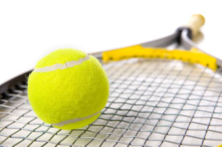 A tennis ball and racket on a white background Stock fotó