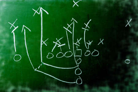 A diagram of an American football play on a green chalkboard photo