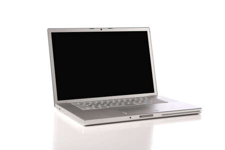 a new silver, aluminum laptop computer on a white background