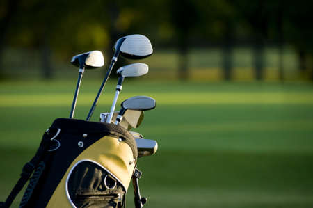 equipment: A set up new golf clubs on a beautiful golf course Stock Photo