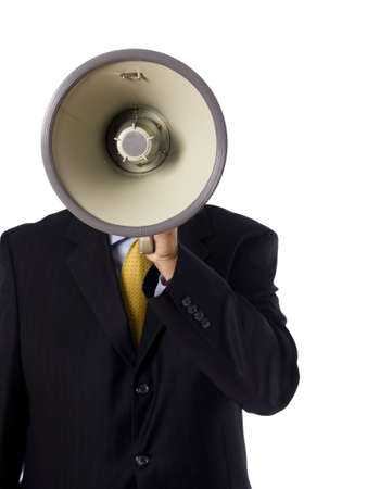 A business man, banker or preacher with a megaphone on a white background