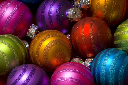 one item: Christmas decoration baubles or ball with glitte making a colorful background