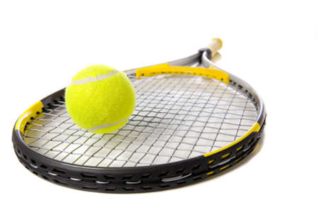 A tennis ball and racket on a white background Banco de Imagens