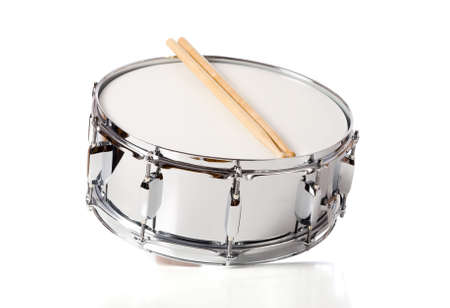 snare: A new silver snare drum with sticks on a white background Stock Photo