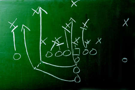A diagram of an American football play on a green chalkboard Stock Photo - 5193698