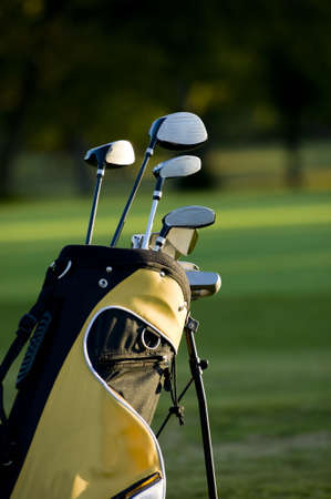 set up: A set up new golf clubs on a beautiful golf course Stock Photo