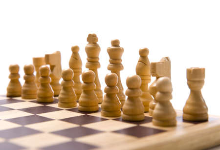 A chess set on a white background