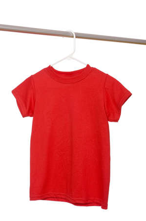 A red t-shirt on a hanger on a white background with copy space