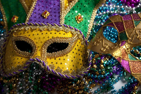 A group of mardi gras beads an mask with copy space Stock Photo - 5230471
