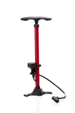 A bicycle or sports equipment air pump on a white background,  with copy space Banco de Imagens