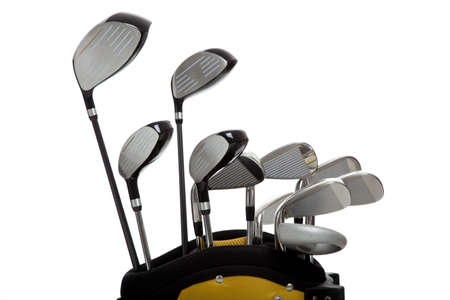 equipment: A set of new golf clubs on a white background with copy space