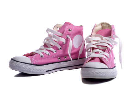sneakers: A pair of pink sneakers or basketball shoes on a white background Stock Photo