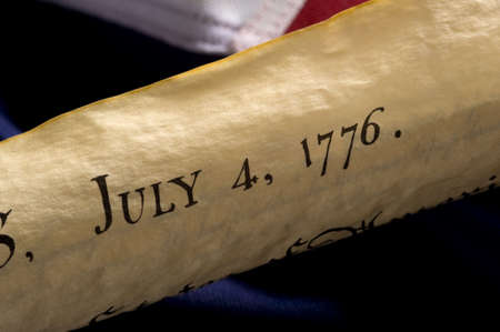 declaration: A copy of the Declaration of Independence dated July 4, 1776, marking the day the United States declared her independence from England Stock Photo