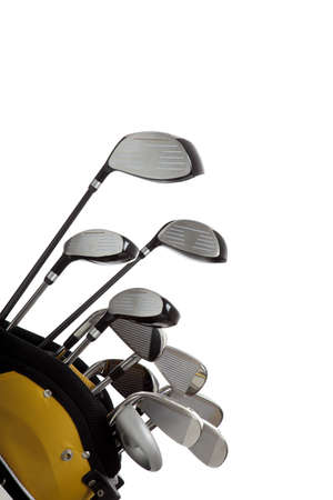 새로운 골프 클럽 복사본 공간이 흰색 배경에 집합 스톡 콘텐츠