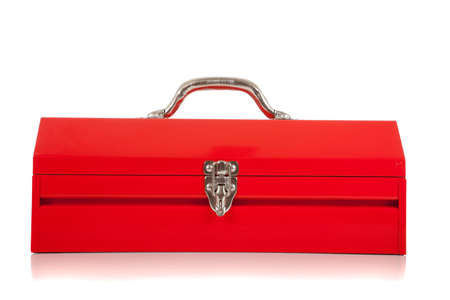 A red metal toolbox on white background photo