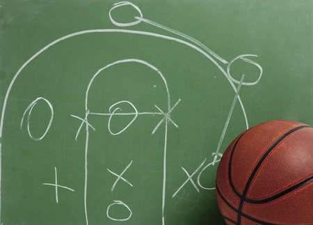 score board: A leather basketball in front of a green chalkboard with a play or strategy Stock Photo