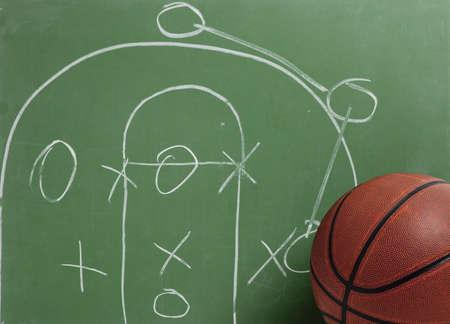 Una pelota de baloncesto de cuero en frente de una pizarra verde con un juego o una estrategia  Foto de archivo - 5384841