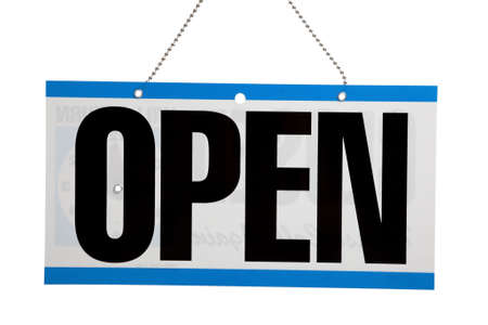 An Open sign on a door on a white background Stock Photo - 5391051