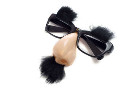 funny glasses: A set of Groucho Marx glasses with nose, mustache and eyebrows on a white background.  Funny glasses with nose