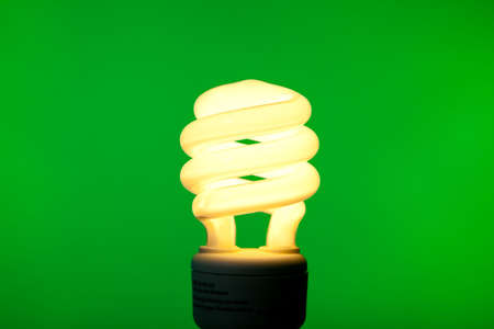 A compact flourescent bulb on a green background - energy saving, environmental theme photo