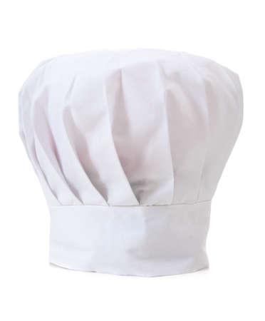 gorro chef: Un sombrero de cocineros profesionales o toque sobre un fondo blanco  Foto de archivo