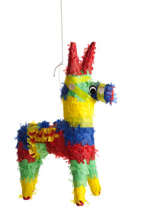 pinata: A traditional, primary colored Mexican party pinata on a white background