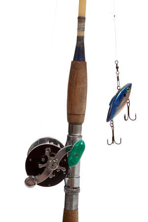 fishingpole: A fishing rod and reel with a lure with hooks on a white background