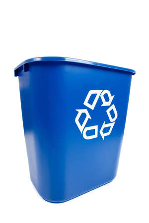 A blue empty recycle bin on a white background with copy space photo