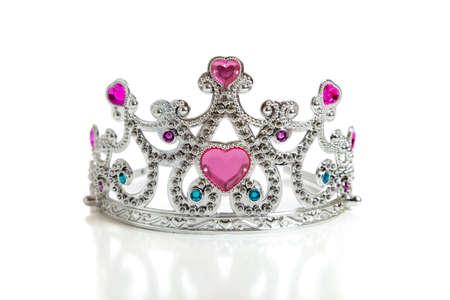 queen diamonds: Giocattolo princess tiara un bambino di su uno sfondo bianco con spazio di copia