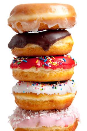 Donuts Assorted sobre un fondo blanco Foto de archivo