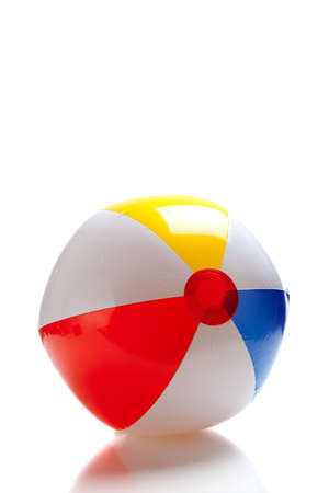 beachball: A multi-colored beach ball on a white background Stock Photo