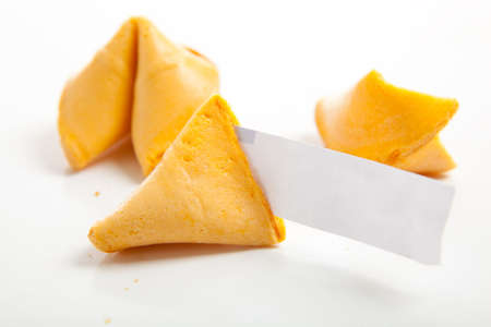 Chinese fortune cookies with one blank fortune - copy space photo