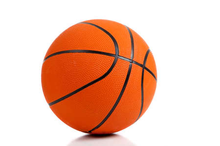 A rubber basketball on white background with copy space photo
