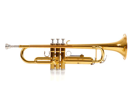 fanfare: A brass colored trumpet on white background with copy space Stock Photo