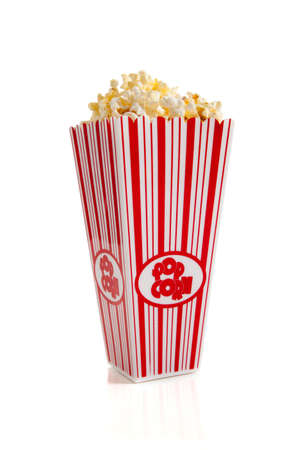 buckets: A striped container of movie popcorn on a white background