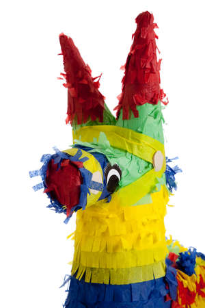 A traditional, primary colored Mexican party pinata on a white background Stock Photo - 5452092