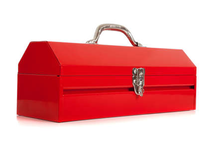 A handymans red metal toolbox, closed, on a white background photo