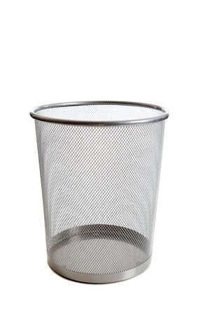 can pattern: An empty wire mesh trash can on white background with copy space