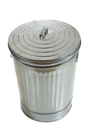 Trash can with lid on white photo