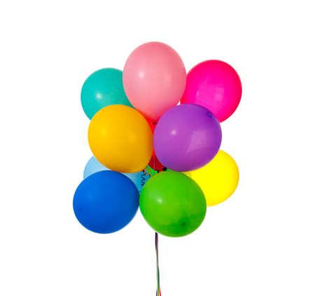 Een groep van partij ballonnen op witte achtergrond met kopie ruimte Stockfoto
