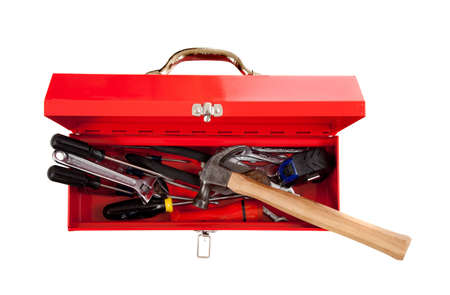 white work: A red metal toolbox with assorted tools on a white background with copy space, Handy man theme
