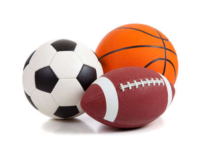 football symbol: An american football, a soccer ball and a basketball on a white background Stock Photo