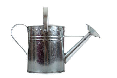 galvanized: A silver galvanized watering can on a white background