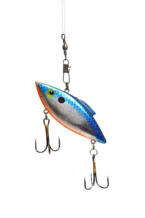 A fishing lure with hooks on a white background photo